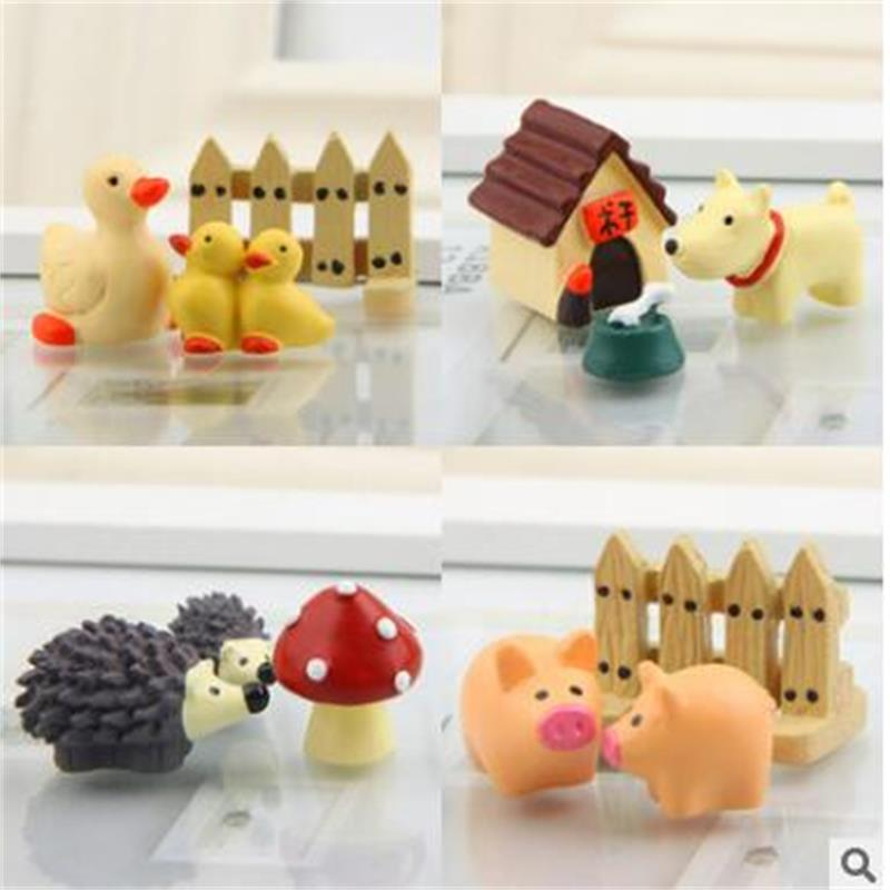 3PCS Kawaii Elephant Figurine Cow Pig Frog Duck Hedgehog Turtle Dog Decor Mini Fairy Garden Animal Statue Miniature Resin Craft