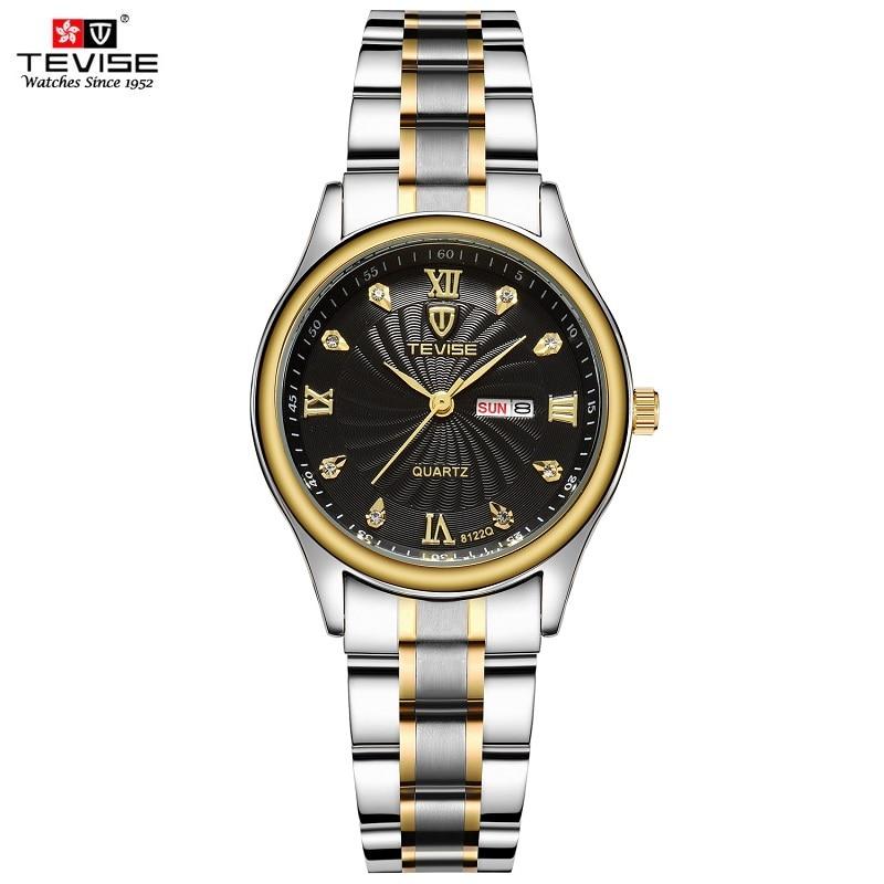 TEVISE Luxury Gold Women Watch Week Day Date Bracelet Watches Ladies Waterproof Fashion Quartz Steel Wrist Watches Montre Femme