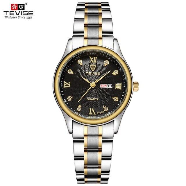 TEVISE reloj dorado de lujo para mujer, pulsera de acero de cuarzo, resistente al agua, con fecha y semana