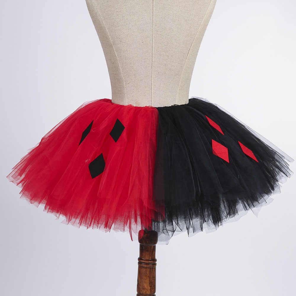 6c861163 ... Red Black Lady Girl Joker Cosplay Tutu Skirt Fluffy Women Adult Scary  Harleen Halloween Evening Party ...