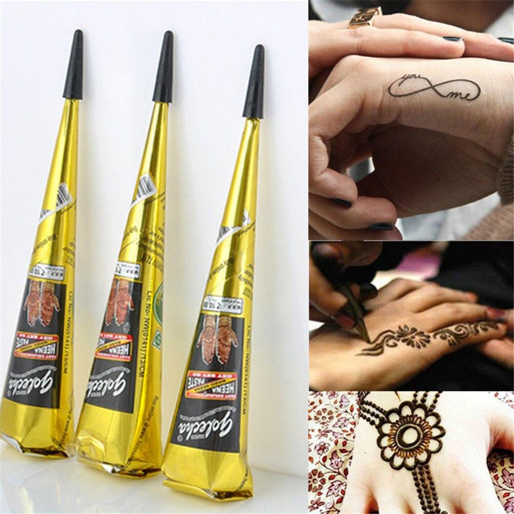 Black Natural Herbal Henna Natural Tube Cones Indian Temporary Tattoos Body Art Kit Paint Tool