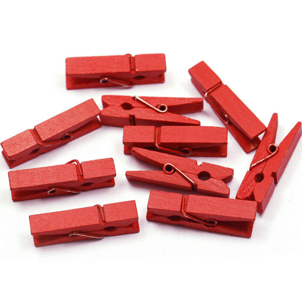 HENGHOME 20 sztuk Mini kolorowe sprężynowe klipsy drewniane ubrania zdjęcie papieru Peg Pin Clothespin Craft klipy strona dekoracji 35MM