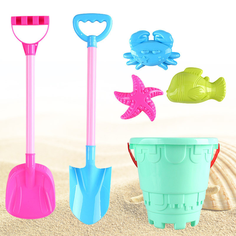 SLPF6 Piece Set Children Beach Toys Kids Baby Game Play Sand Large Digging Shovel Mold For Sand Bucket Boy Girl Gift New Hot G23