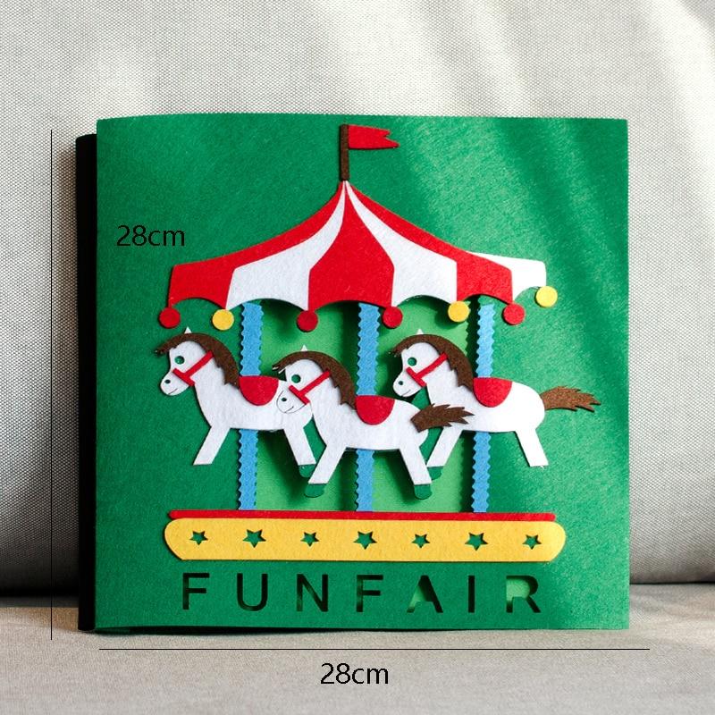 2019 Felt Cartoon Princess Car 14 inch Blanket Photo Album DIY Baby Growth Album Handmade Large