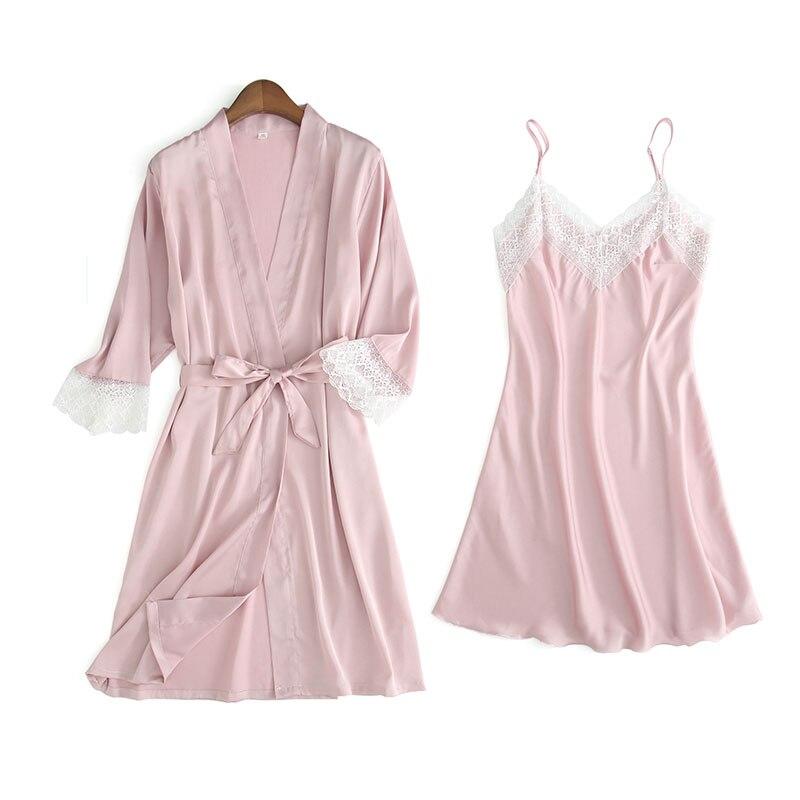 BZEL 2019 New Fashion Women Summer Robe & Gown Sets Luxury Nightdress Sexy Silk Satin Bathrobe 2 Pcs Female Nightwear Lingerie