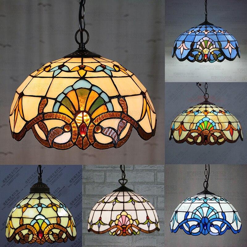 Tiffany Baroque vitrail suspendu Luminaire E27 110-240v chaîne pendentif lumières éclairage lampes pour maison salon salle à manger