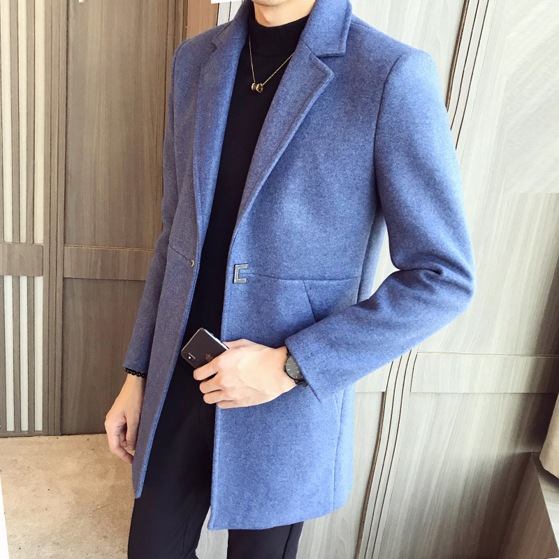 Jacket Trench-Coat Blends Male Woolen Black Autumn Designer Long Casual Winter Mens New-Fashion