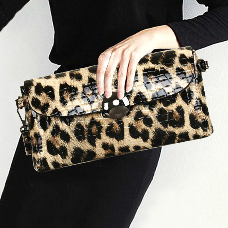 Leopard Leather Woman Evening Bag Fashion Female Wallet Wedding Party Shoulder Bag Soft Ladies Clutch Purse Banquet Bags