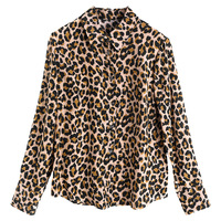 Women fashion leopard print silk shirts long sleeve tops chiffon blouse new 2019 spring summer office lady wear