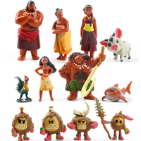 New 12 Pcs/Set Moana Waialiki Maui Heihei Adventure   Action     Figures   vaiana PVC Princess Toy Collection Dolls Children Gift