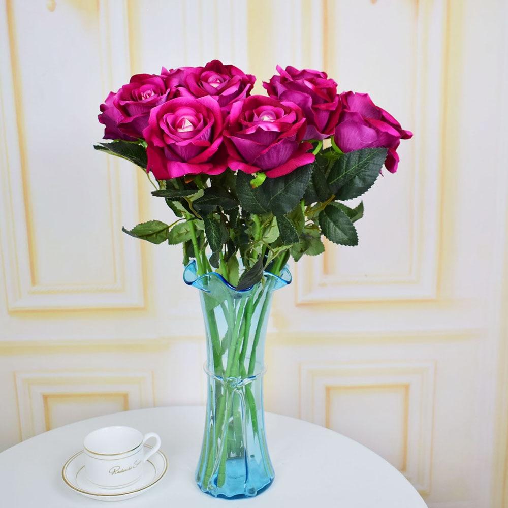 7pcs Velvet Roses Artificial Flowers For Home Wedding Table