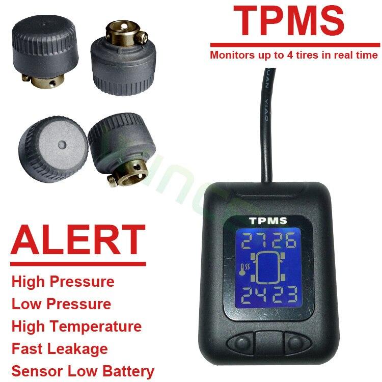 Беспроводной TPMS с внешними Датчики Мощность на машине Батарея Поддержка Высокая Низкая Давление Температура сигнализации