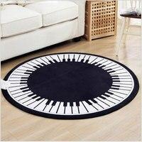 150 cm Çap Moda Piyano Desen Yuvarlak Halı Modern Basit Baskı Oturma Odası Için Anti-skid Emekleme Ped Oyun Paspaslar Mat
