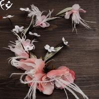 Bride Silk Flower Feather Headdress Flower Hair Female Flower Hairpin Headdress Wedding Gown Accessories