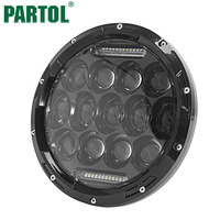 Partol Motorcycle Headlight 7 LED Headlight With DRL PAR56 Round Black Inner Bezel Pure White 6000K
