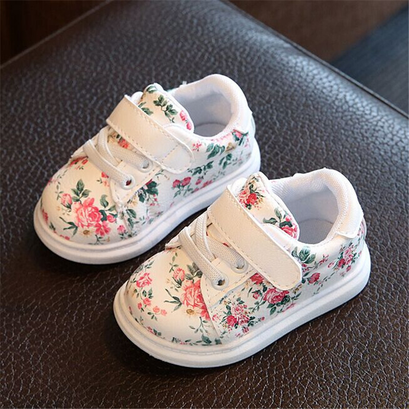 Cute Floral Pattern Design Baby Girls Shoes Comfortable Leather Kids Sneakers 2