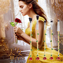 5 Pcs Beauty and the Beast Rose Flower Makeup Brushes Set Metal Hand Wand Eye Shadow Lip Brush Makeup Brushes Kit Free Shipping