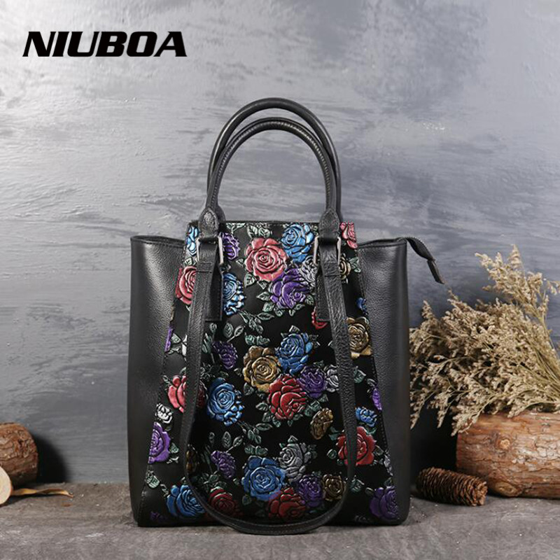 Real Cow Leather Ladies HandBags Women Luxury Genuine Leather bags Tote Embossed Flower Hign Quality Designer Luxury Brand Bag 2018 real cow leather ladies handbags women genuine leather bags tote messenger bag high quality designer luxury brand bag bolso