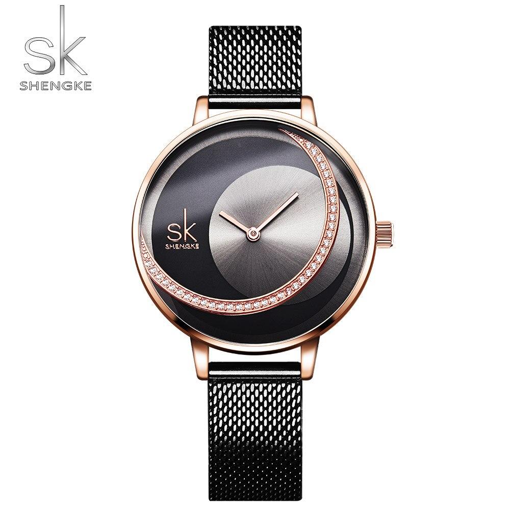 Shengke Crystal Bracelet Women Watches Luxury Brand Women's Watches SK Fashion Ladies Watch Women Creative Clock Reloj Mujer
