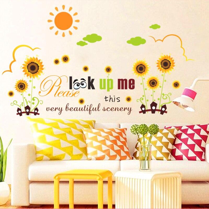 Красивые пейзажи сад Sun цветка стены стикеры для детей номеров Декор с рисунком самолета Наклейки на стены ПВХ плакаты DIY ИСКУССТВА настенно...