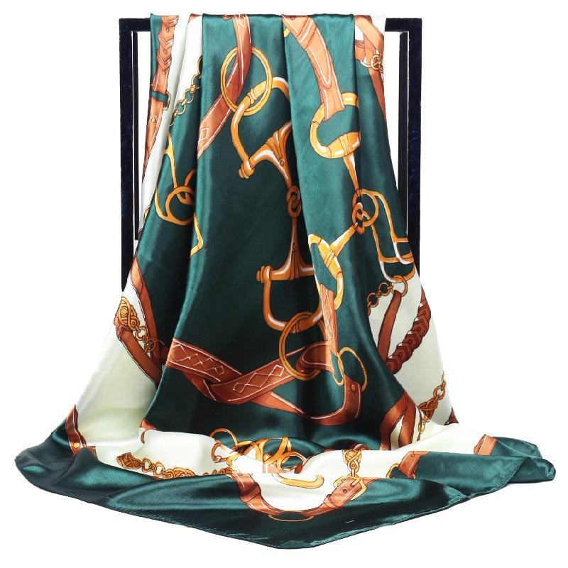 New Luxury Brand Twill Silk Large Scarf Women Fashion Belt Pattern Satin Square Scarve Ladys Design Handkerchief 90x90cm Bandana