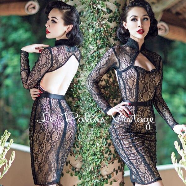 TRASPORTO LIBERO Le Palais D'epoca in edizione limitata Retrò Pizzo Nero Sexy backless vestito stretto low cut Prospettiva dress chi- pao