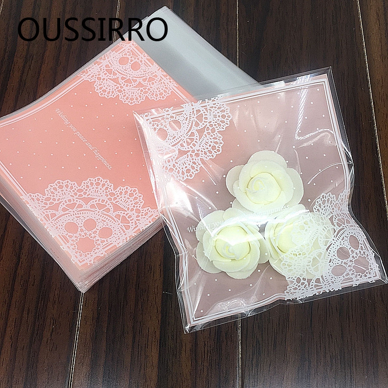 25PCS/Lot Lovely Pink Lace Gifts Bags Christmas Cookie Packaging Self-adhesive Plastic Bags Jewelry Biscuits Candy Cake Package