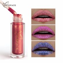 Niceface 6 cores ultra metal batom líquido bronze rosa ouro brilho metálico lábio gloss maquiagem à prova dlong água longo vestindo lábios