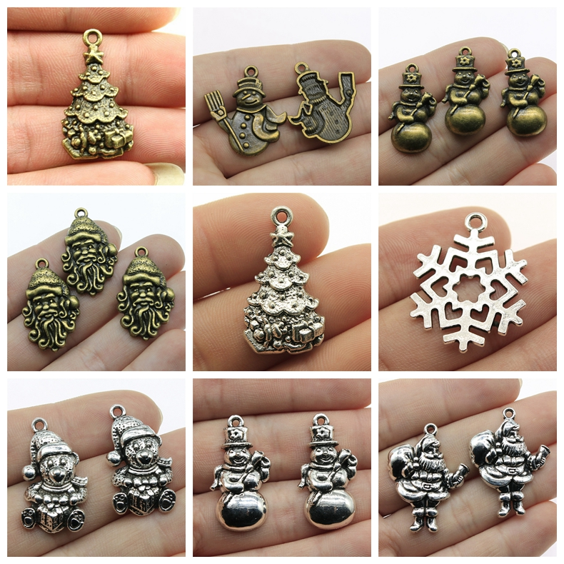 Mix Christmas Charms Rms For Jewelry Making Diy Craft Supplie Decorative Pendant Hanging Pendants Snowflak