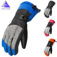 Gants de Ski Extra épais PU Palm hiver neige Sport de plein air femmes hommes motoneige chaude moto coupe-vent imperméable Snowboard
