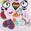 1PCS Lip Unicorn Patch Pizza Panda Cheap Embroidered Cute Patches Iron On Cartoon Patches For Clothes Kids Jeans Applique Badges