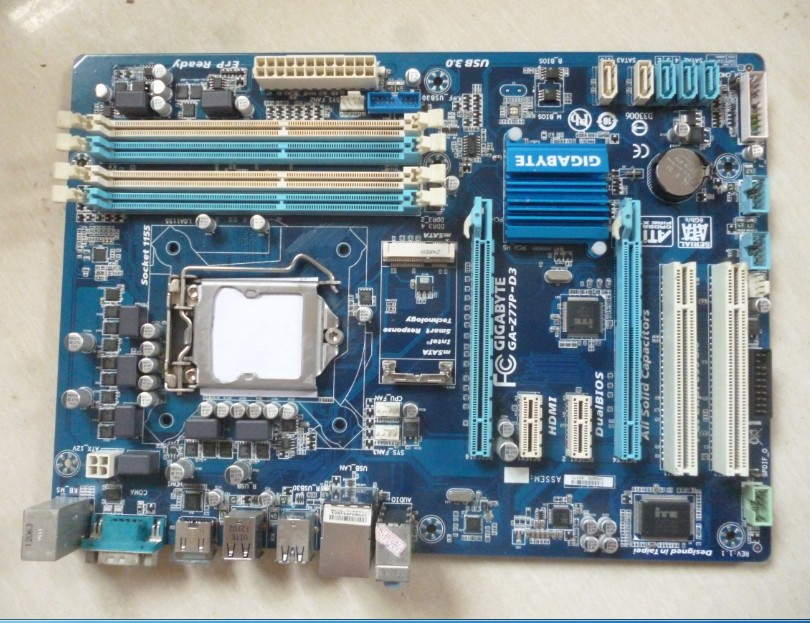 Free shipping 100% original motherboard for Gigabyte GA-Z77P-D3 DDR3 LGA1155 integrated Onboard Gigabit Ethernet Z77P-D3 original motherboard ga g41mt s2 lga 775 ddr3 g41mt s2 8gb fully integrated g41 free shipping