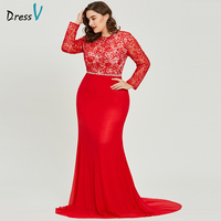 Dressv Red Scoop Neck Plus Size Evening Dress Elegant A Line Long Sleeves Wedding Party Formal