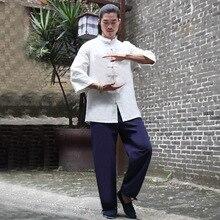 ad3bbbf68e50 Tradition chinoise hommes Yoga costume lâche pantalons hauts ensemble Tai  Chi vêtements lin vêtements de plein air Zen méditatio.
