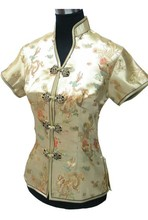 Hot Sale Gold Ladies' Polyester Blouse Slim Elegant Short-Sleeve Shirt Tops Novelty Button Tang Suit S M L XL XXL XXXL J001-F
