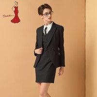 Deviz Queen Profession Business Office Lady Suit Winter Elegant Stripe Long Sleeve Blazer Dress Suit Formal