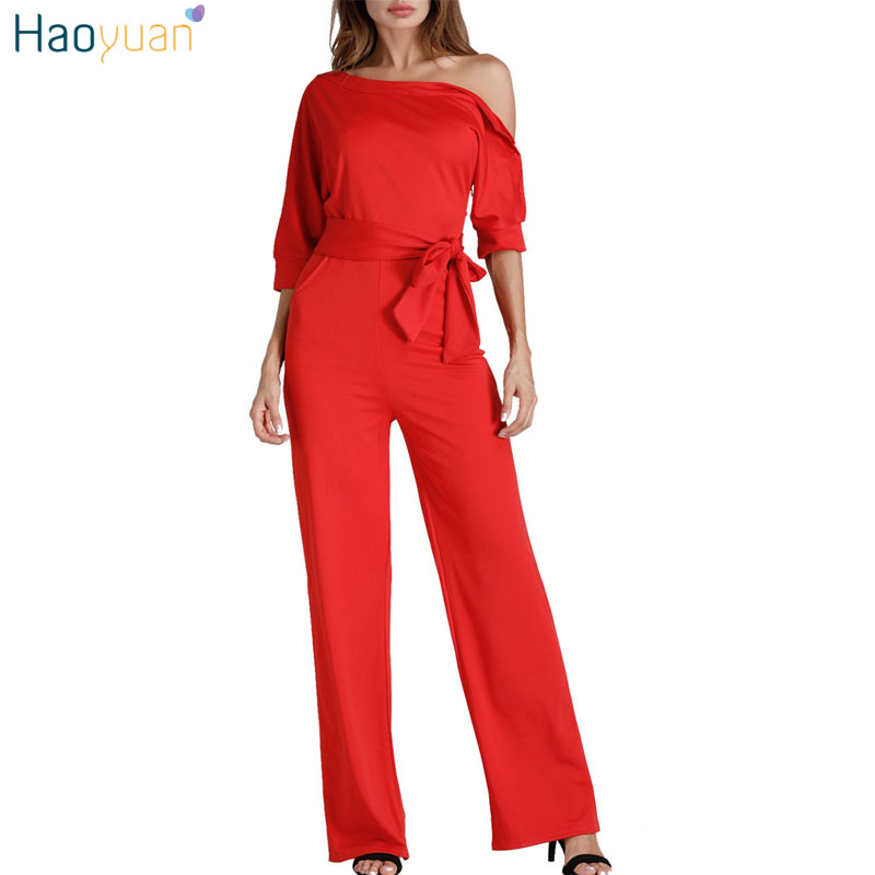 HAOYUAN Oblique Shoulder Sexy Jumpsuit With Pockets Full Bodysuit Casual Overalls Ladies Wide Leg Pants Rompers Womens Jumpsuit
