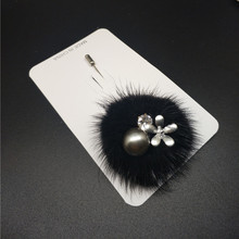 IN STOCK Full Rabbit Fur Charm Simulated Pearl Brooch Pins For Women Korean Fur Ball Piercing Lapel Pins And Brooches Jewelry