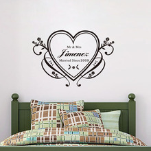 Personalized Name Wedding decoration Heart Vinyl Wall Art Sticker Bedroom marriage decal custom made decorative removable