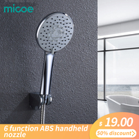 Micoe shower head hand held rain 6 function ABS shower bathroom shower accessories pressurized water saving shower faucet