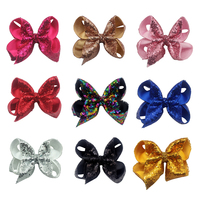 9pcs 5 Sequin Rainbow Bow With Hair Clip For Girls Kids Handmade Boutique Knot Jumbo Hair Bow Hairgrips Hair Accessories