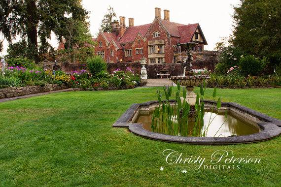 princess castle garden pool grass background Vinyl cloth High quality Computer print chi ...