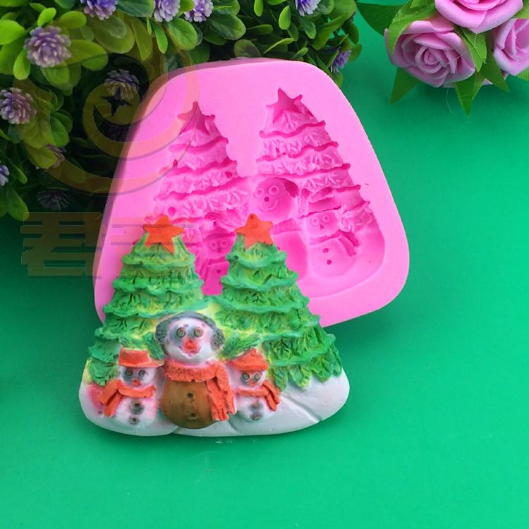 Silicone Christmas Tree Snow man Chcolate Fondant Pudding Jelly Candy Ice Cookie Biscuit Mold Mould Pan Bakeware
