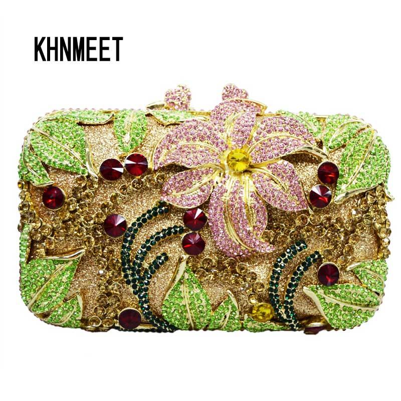 Bagaj ve Çantalar'ten Üstten Saplı Çanta'de Çiçek şekli çivili elmas el çantası Lüks kadın kristal akşam çanta balo debriyaj çanta düğün çantası kesesi poşet Çanta SC126'da  Grup 2