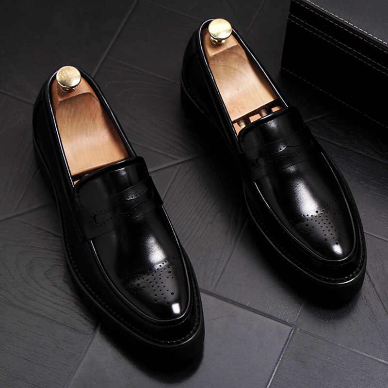 Ingiliz moda erkek iş ofis resmi elbise inek deri brogue ayakkabı oyma bullock oxfordlar ayakkabı düz platformu sneakers
