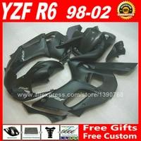 Matte flat black Fairings fit for YAMAHA YZF R6 1998 2002 plastic parts 1999 2000 2001 98 99 00 01 02 fairing kits S4C1