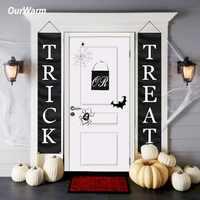 OurWarm Halloween Banner lub leczenia sztuczka domu znak na drzwi strona dekoracji świeci z dzianiny poliester czarny z białym Banner