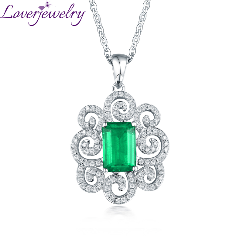 New Design Colombia Emerald Pendant Necklace With Natural Diamond Real 14Kt White Gold for Women Fine Jewelry Anniversary Gift