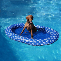 140 x 90 cm Large Blue Dog Pool Float Inflatable Dog Pet Pool Float Doggie Floating Raft Summer Dog Swimming Pool Toy Raft