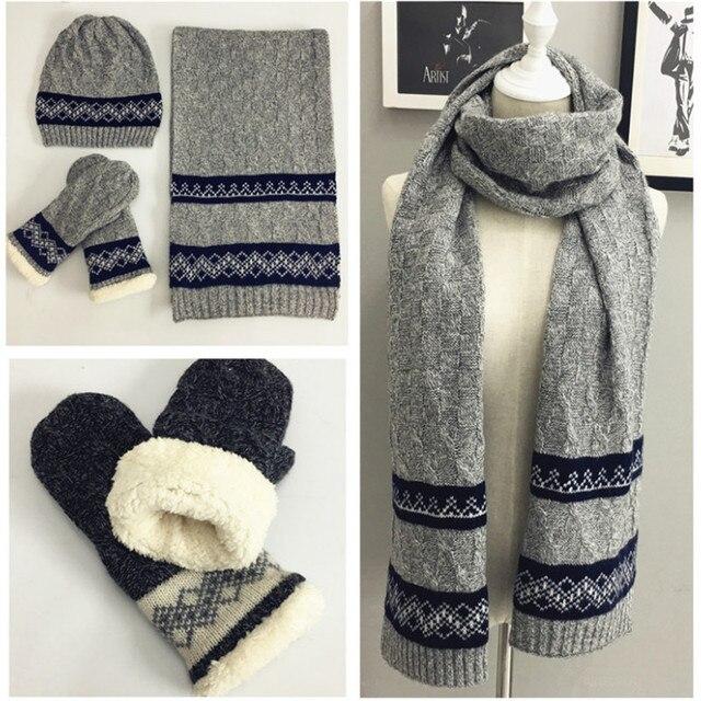 Gestrickte Winter Schal Hut Handschuh Sets Für Männer Häkeln Warme